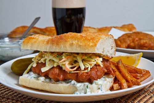 Crispy Beer Battered Fish Sandwich with Coleslaw and Tartar Sauce and a Side of Fries  1 500