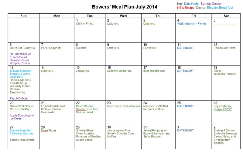 July 2014 Menu