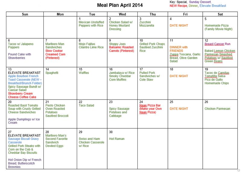 April 2014 menu