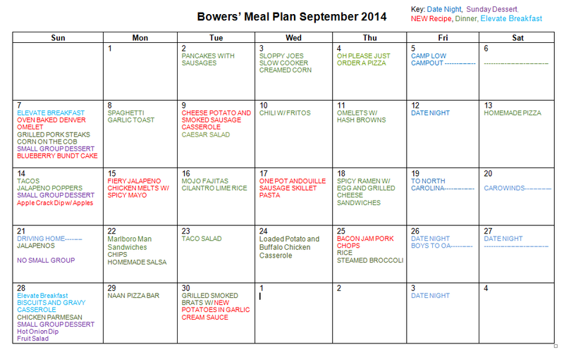 Septermber Meal Plan