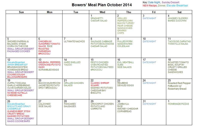 OCT 2014 MENU PLAN