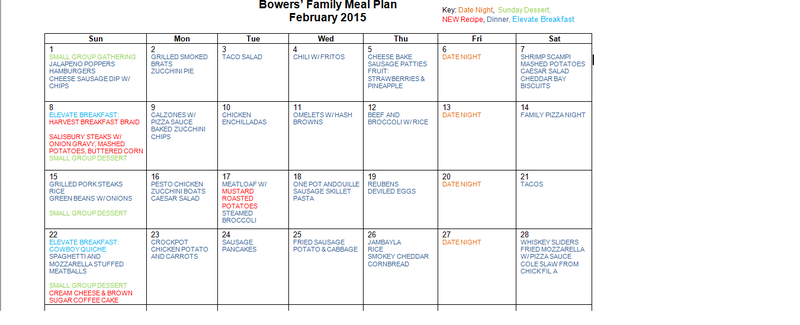 February 2015 Menu