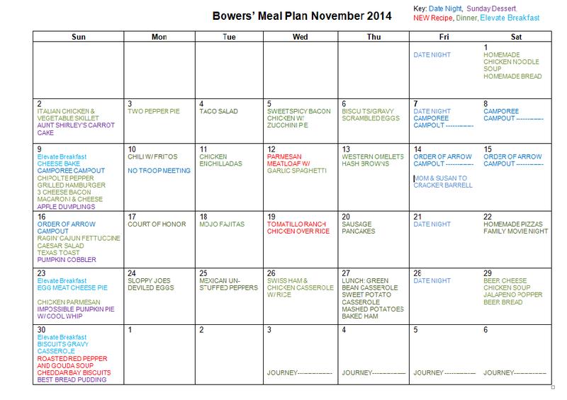 NOVEMBER MEAL PLAN 2014