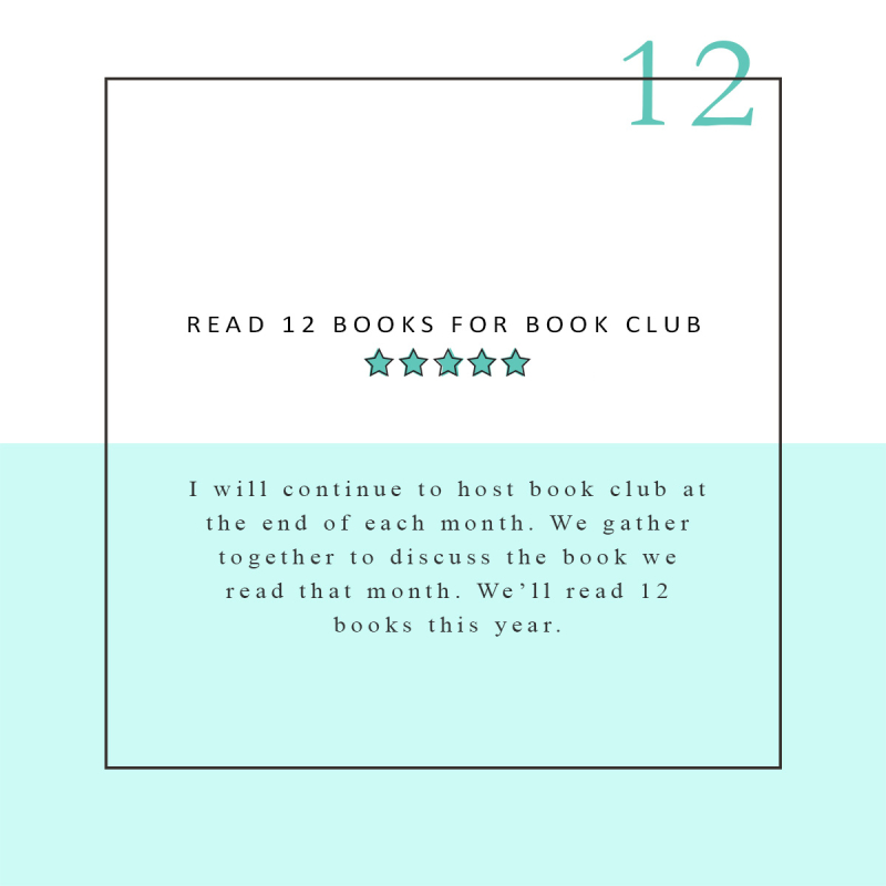 READ 12 BOOKS FOR BOOK CLUB