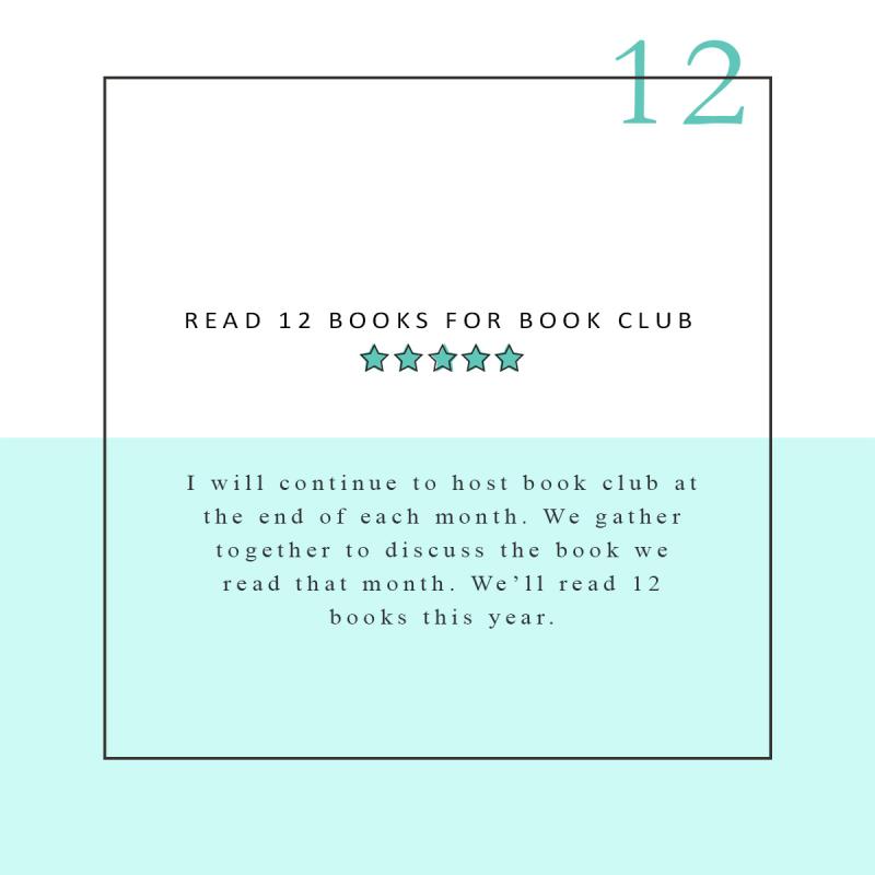 READ 12 BOOKS FOR BOOK CLUB